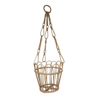 Mid 20th Century Natural Wicker Hanging Basket For Sale