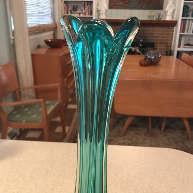 Hand Blown Vintage Art Glass Vase For Sale - Image 9 of 11