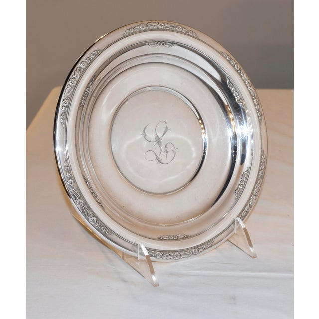 Sterling sandwich plate by International Silver, in the Courtship pattern, circa 1936. Engraved letter L in the center....