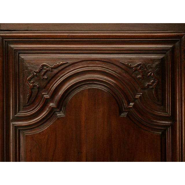 Walnut Exquisite 17th C. Hand-Carved French Louis XIV Bonnetiere/Armoire For Sale - Image 7 of 11