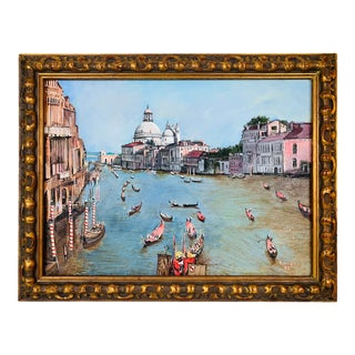 Grand Canal Venice Italy Antique Signed Oil Painting For Sale