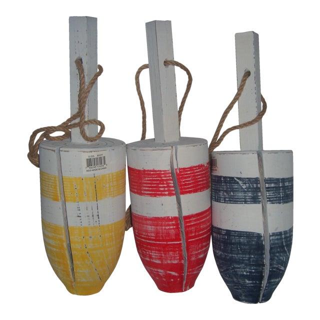 Primary-Stripe Wood Buoys - Set of 3 - Image 1 of 5