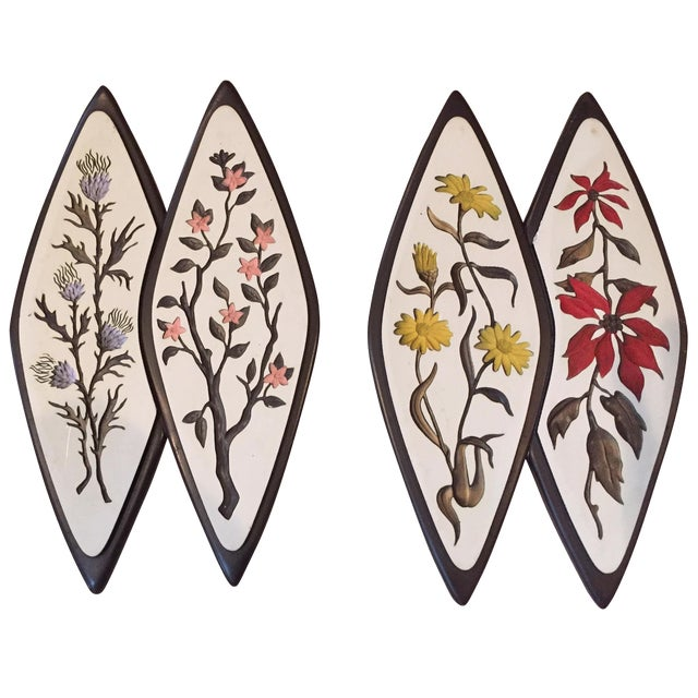 Atomic-Style Floral Wall Plaques - Set of 2 - Image 1 of 8