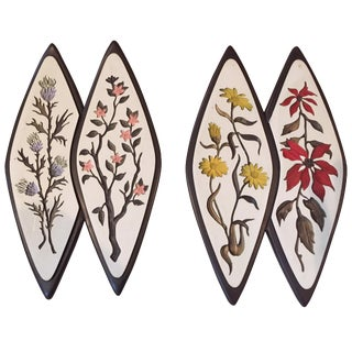 Mid-Century Atomic-Style Floral Wall Plaques - Set of 2 For Sale