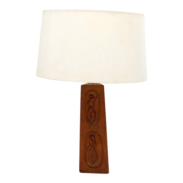 Geisha Mahogany Table Lamp For Sale
