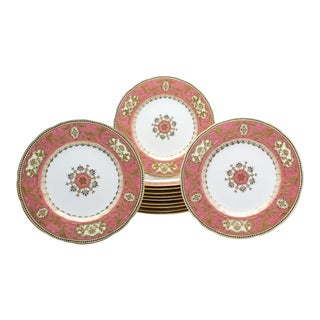 Set of 12 Spode for Tiffany Raised Gold and Pink Rose Du Barry Dessert Plates For Sale