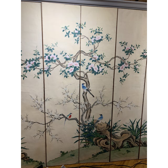 Chinoiserie French Hand Painted 6 Panel Screen For Sale - Image 3 of 5