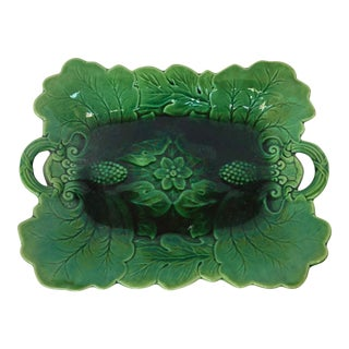 Antique 19th.C Majolica Platter With Embossed Fruit, Flowers & Leaves For Sale