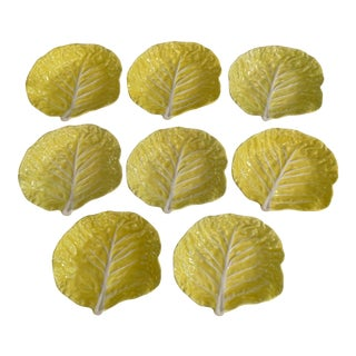 Secla Yellow Majolica Cabbage Bowls - Set of 8 For Sale