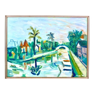 Contemporary Painting, Venice Canals, California - Landscape - Oil Painting For Sale