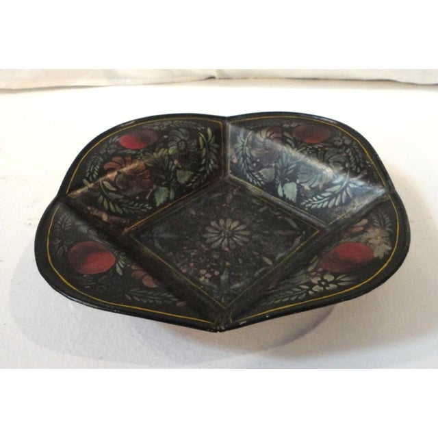 Rare and early original paint decorated and stenciled 19thc tole ware apple tray with apples and floral stenciled...