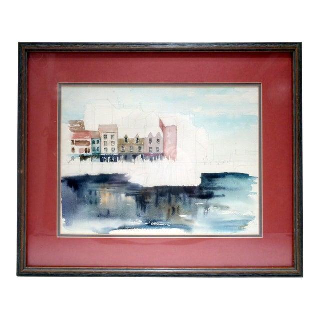 "Karen Stevens (Washington/Texas, 1950-2017) Original Watercolor Seattle ""Warf"" For Sale"