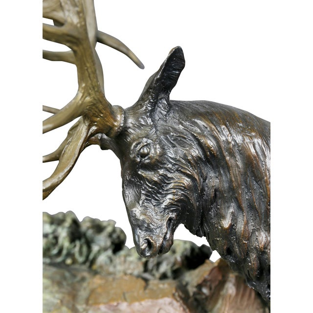 """2000 - 2009 Western Bronze of Elk """"Forces of Nature"""" by Ken Rowe For Sale - Image 5 of 13"""