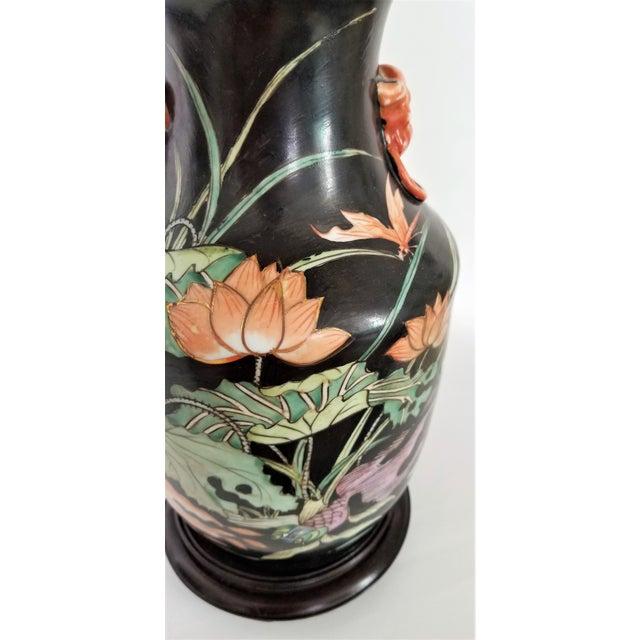 Black Vintage Chinese Porcelain Famille Noire Lamp For Sale - Image 8 of 12