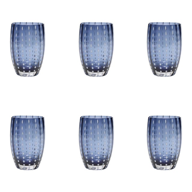 Perle Tumbler in Blue & Grey - Set of 6 For Sale