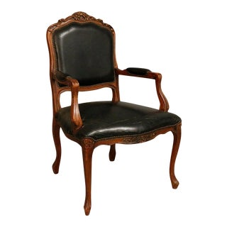 Antique Queen-Ann Traditional Black Lounge Armchair With Original Black Leather For Sale