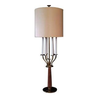 Tommi Parzinger Atomic Modern Brass Candelabra Floor Lamp with Stiffel Shade For Sale