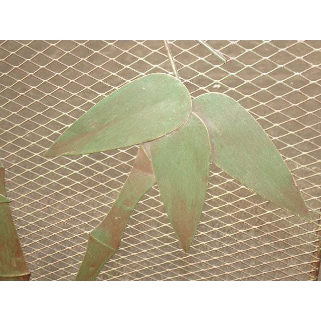 Green Vintage French Country Black Fireplace Screen with Bamboo Leaves Limbs For Sale - Image 8 of 12