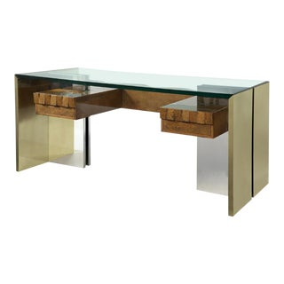 Italian Steel & Bronze Desk For Sale
