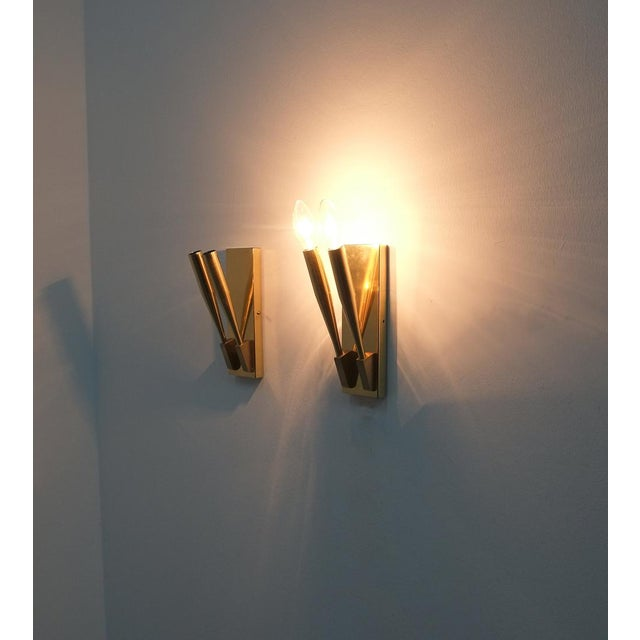 Brass Wall Lights Sconces Attributed Gio Ponti Midcentury For Sale - Image 10 of 11