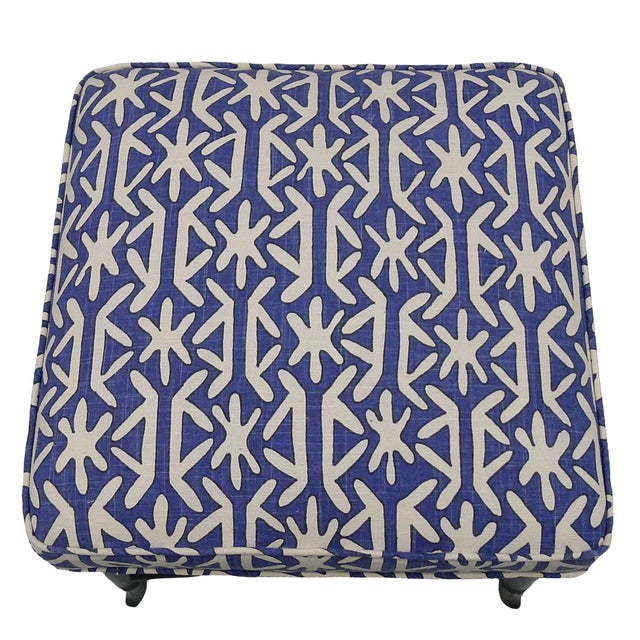 Hollywood Regency Black Faux-Bamboo & Blue Upholstered Stool For Sale - Image 3 of 5
