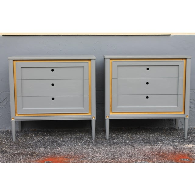 Mid-Century Modern 1960s Slate Blue & Gilt Accent Bachelor's Chests - A Pair For Sale - Image 3 of 10