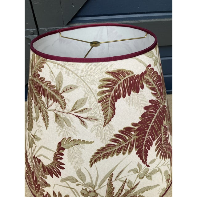 Traditional Red and Green Fern Botanical Print Lampshade For Sale - Image 3 of 6