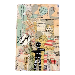 """Original Contemporary Wayne Cunningham Abstract """"Hands Across America """" Collage For Sale"""