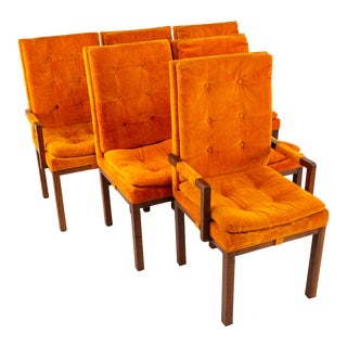 Milo Baughman Style Dillingham Mid Century Orange and Walnut Upholstered Dining Chairs For Sale