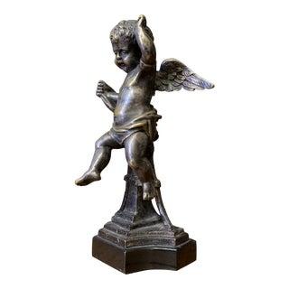 19th Century French Louis XVI-Style Patinated Bronze Cherub Figurine For Sale