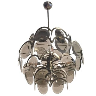 Italian Mid-Century Vistosi Glass Disks Chandelier For Sale