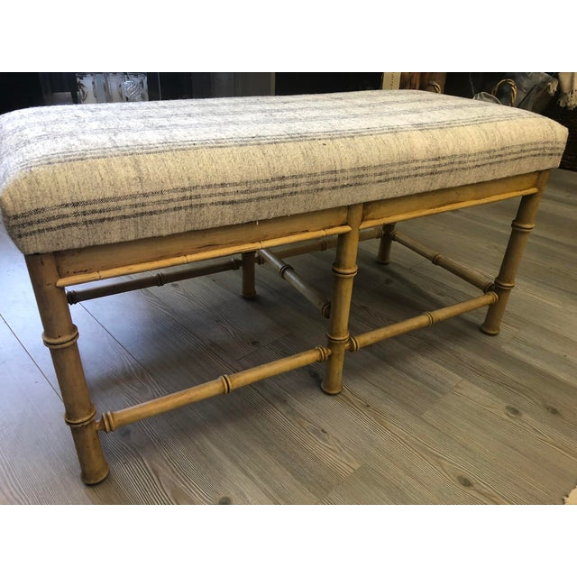 Vintage Natural Faux Bamboo Bench With Turkish Textile Seat For Sale - Image 4 of 6