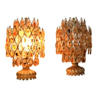 Mid Century Pair Montana Agate Brass Lamps Lucite Teardrop Shade - a Pair For Sale