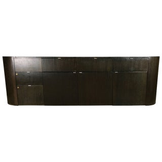 1980s Vintage Italian Modern Oval Cerused Credenza Sideboard For Sale