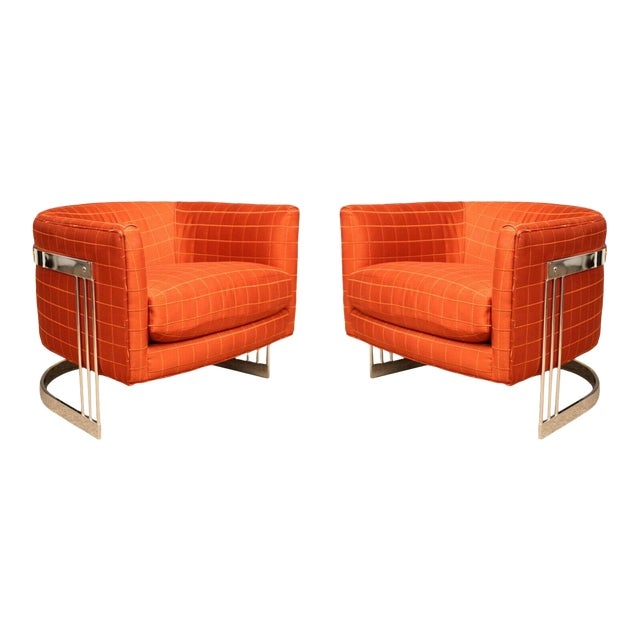 Mid Century Modern Flair Chrome Wrapped Lounge ChairsBaughman Era - a Pair For Sale