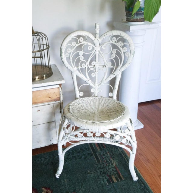Vintage White Rattan Heart Back Peacock Chair Chairish