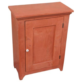 19th Century Diminutive Original Salmon Painted Wall Cupboard For Sale