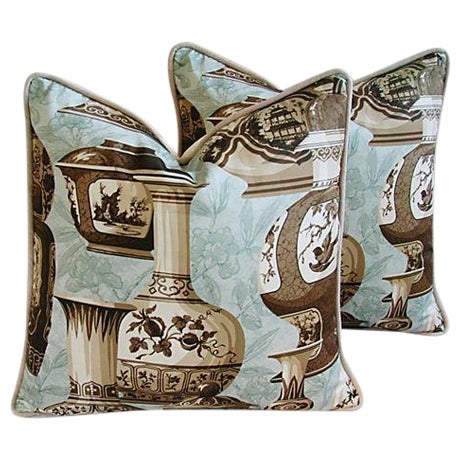 Custom Braemore Chinoiserie Vase Pillows - A Pair For Sale - Image 10 of 10