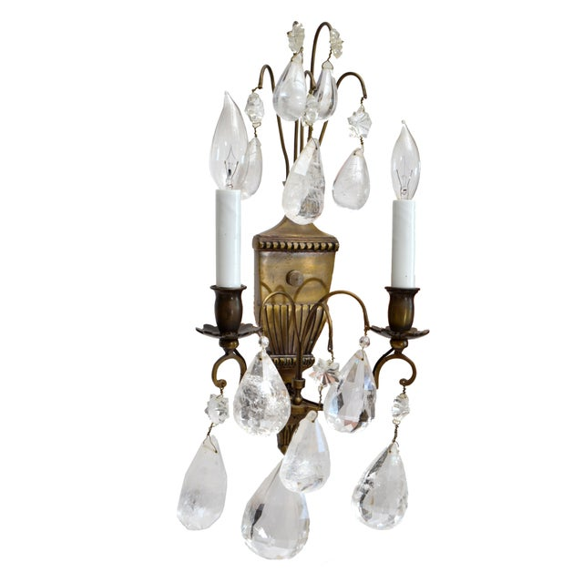 French Bohemian Rock Crystal and Bronze Wall Sconces, A Pair For Sale - Image 3 of 9