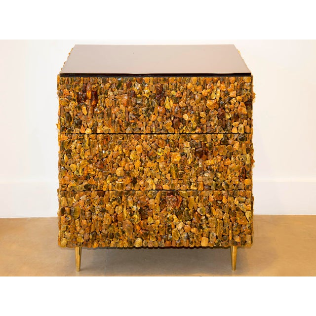 Gold Kam Tin - Chest of Drawers With Natural Amber and Brass, France, 2016 For Sale - Image 8 of 8