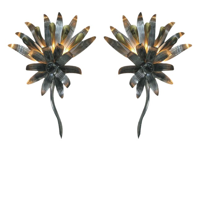 A Pair of American Art Deco Tole & Brass Foliate-Form Sconces Centering Glass Spheres For Sale