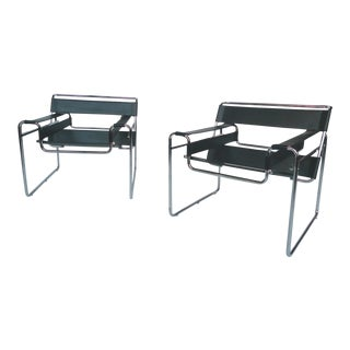 Black Leather and Steel Wassily Chairs by Marcel Breuer - A Pair