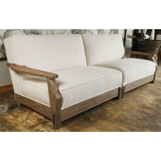 Restored 1950s Vintage Distressed Oak Sofa - 2 Pieces Preview