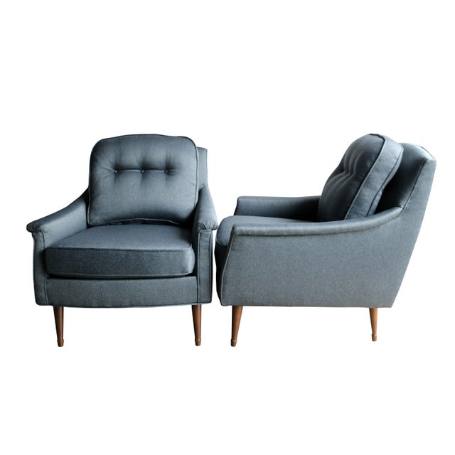 Grey Mid-Century Modern Armchairs - Pair - Image 3 of 6