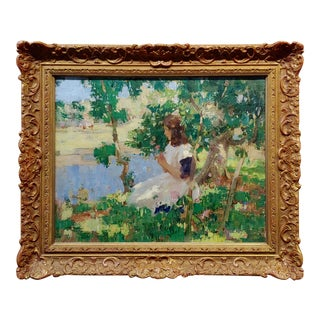 """1920s William Hanna Clarke """"Girl Under the Tree by the River"""" Impressionist Oil Painting For Sale"""