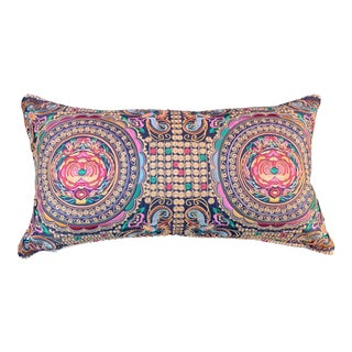 Hollywood Regency Black Silk Colorful Embroidered Chinoiserie Moth Pillow For Sale