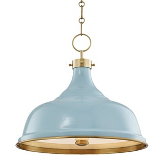 Mark D. Sikes Painted No.1 3 Light Pendant - Aged Brass and Blue Bird