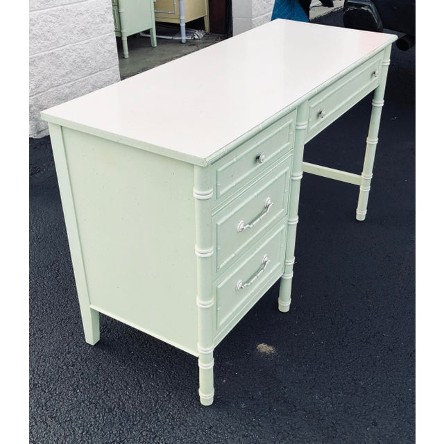 Thomasville Faux Bamboo Writing Desk For Sale In Cleveland - Image 6 of 9