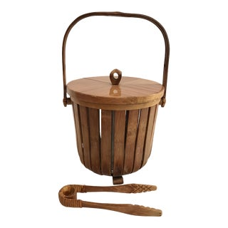 Vintage Bamboo Ice Bucket & Tongs - A Pair