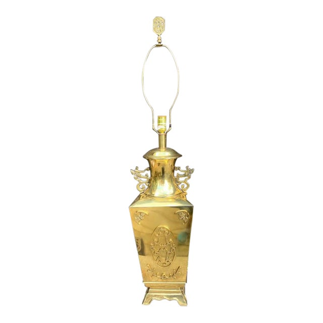 Chinoiserie Brass Lamp For Sale